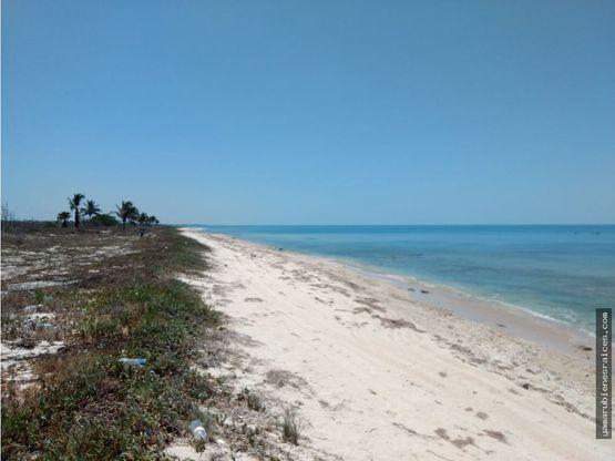 terreno con playa carretera champoton islaguada