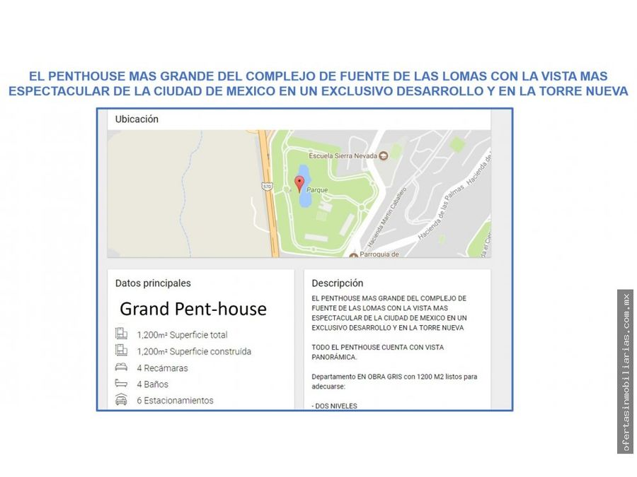 grand penthouse en fuentes de las lomas interlomas