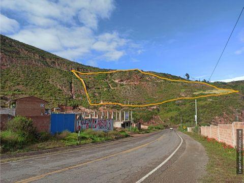 vendo terreno 22000 m2 a pie autopista urubamba cusco peru