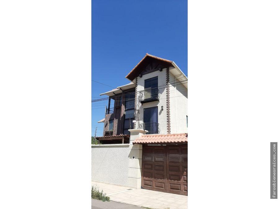 moderna casa 5 dormitorios en venta cochabamba sarco