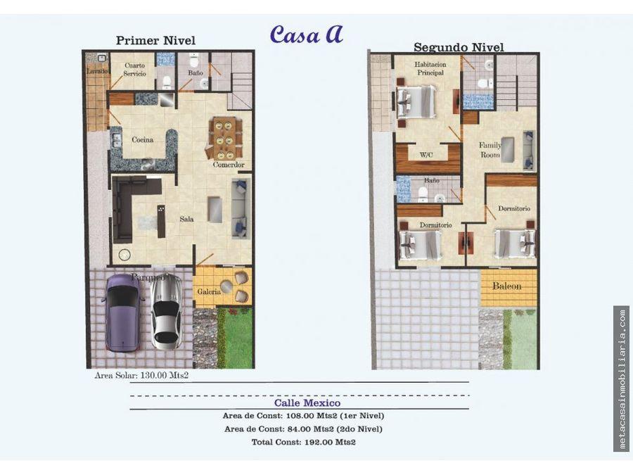casas de 2 niveles en plano en vista hermosa