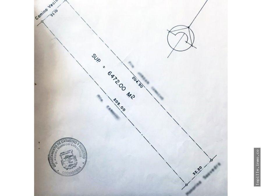 venta terreno zona colcapirhua 6472 m2