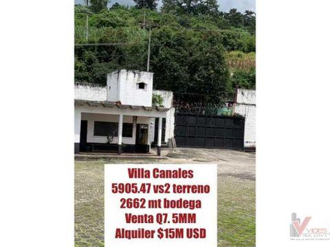 venta y renta de terreno en villa canales