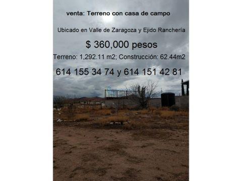 terreno con casa de campo en ejido rancheria juarez