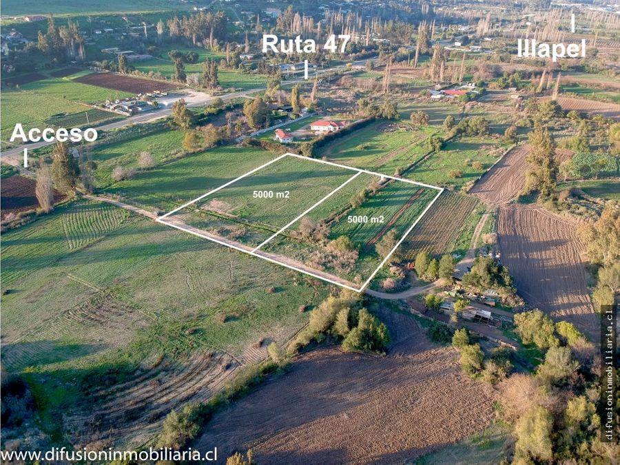 illapel parcela plana 5000m2 cierro agua de riego cuz cuz carretera