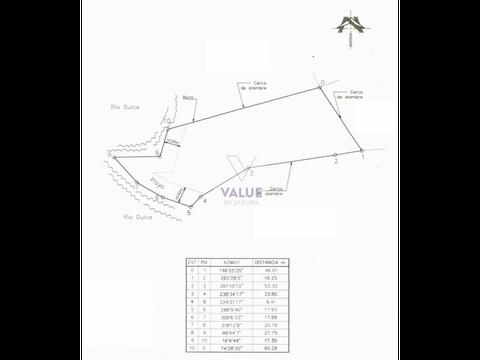 venta terreno en rio dulce 7102v2 100mts lineales de playa
