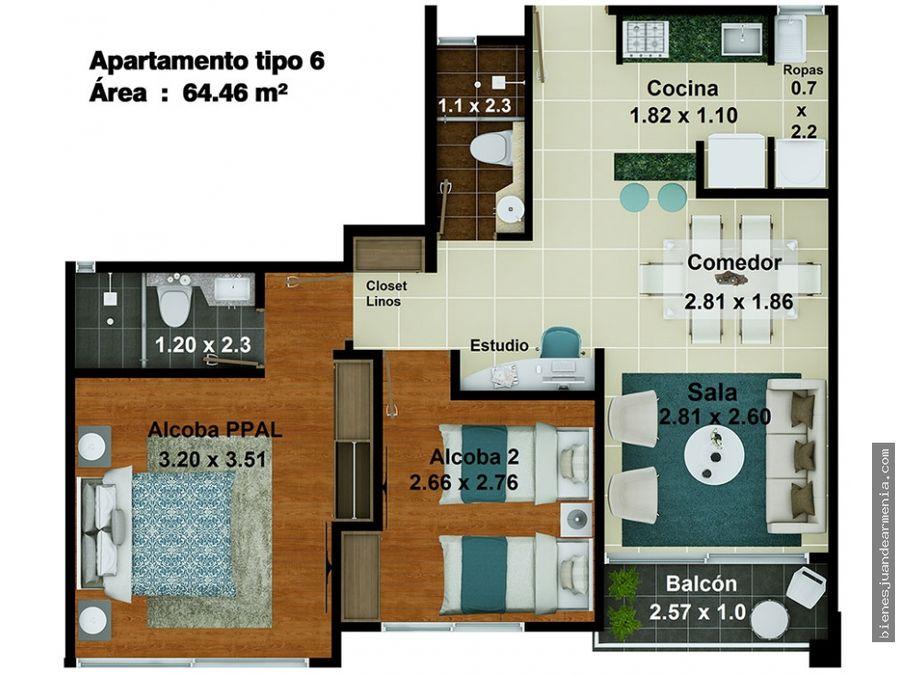 apartamento para venta norte de armenia hda el cortijo
