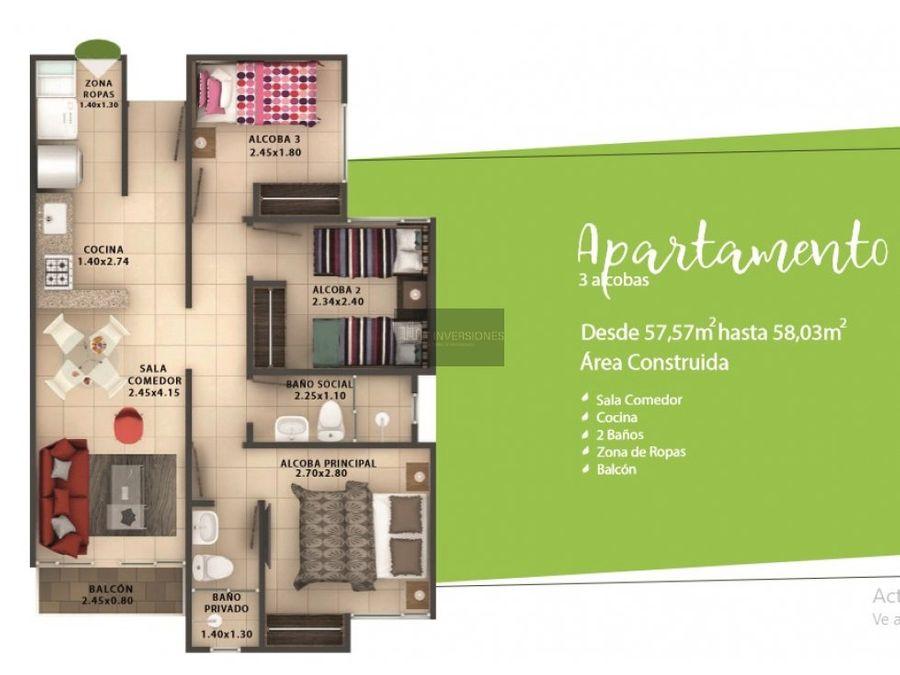 apartamento 3 alcobas venta en armenia puerto espejo
