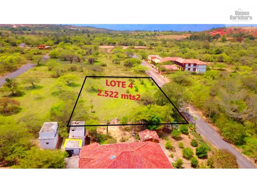 vendo lote 4 condominio la pradera barichara vda llano 2522 mts2