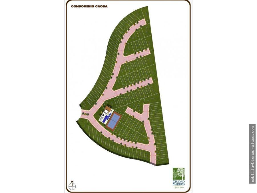venta terreno ciudad maderas qro cond caoba 124 m2