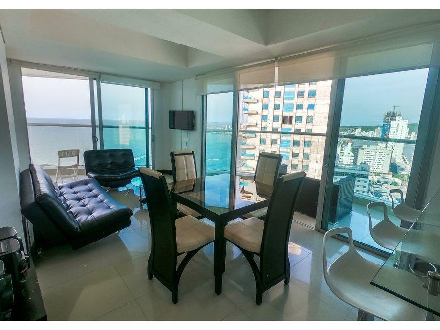 venta apartamento en bocagrande frente al mar 2 alcobas pe001
