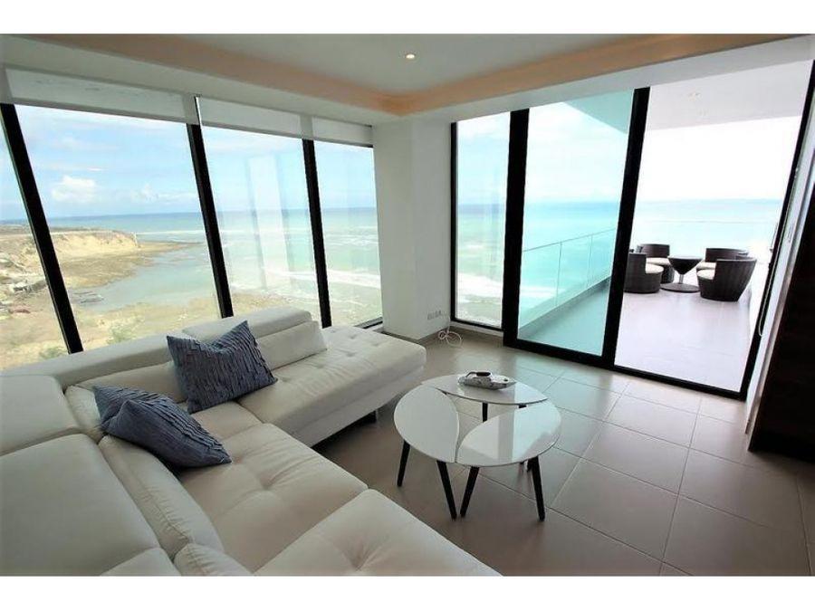 suite de lujo amoblada frente al mar en edificio poseidon manta