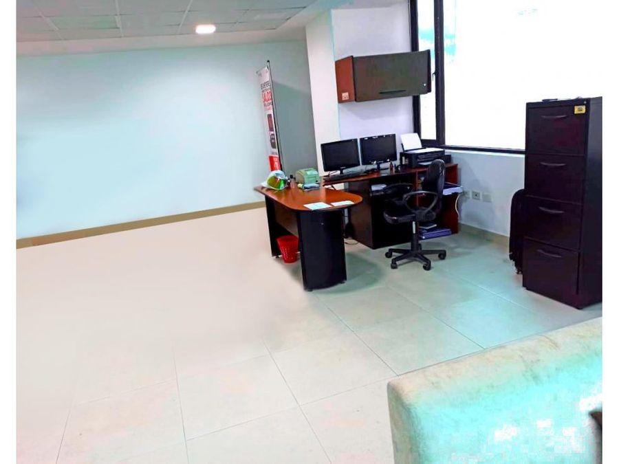 oficina con mobiliarios vista al mar en edificio manta business center
