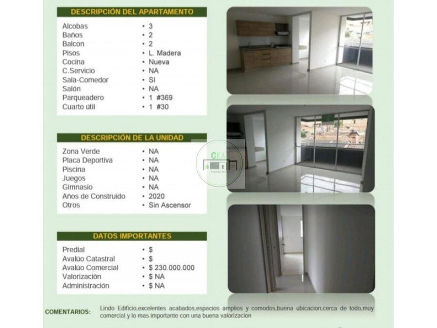 venta apartamento bello 77 m2 330 millones