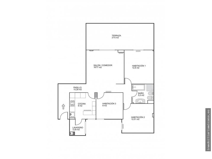 piso amplio con terraza