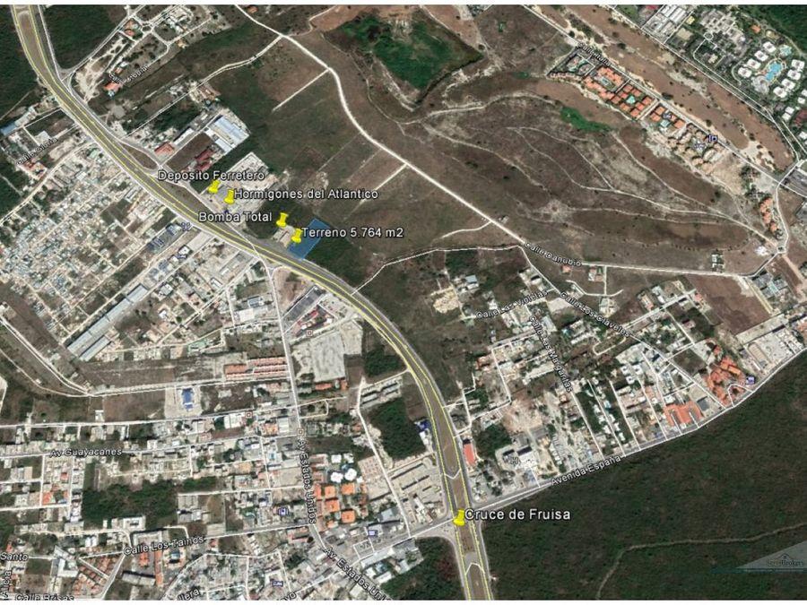 venta terreno 5764m2 46ml frt boulevard bavaro