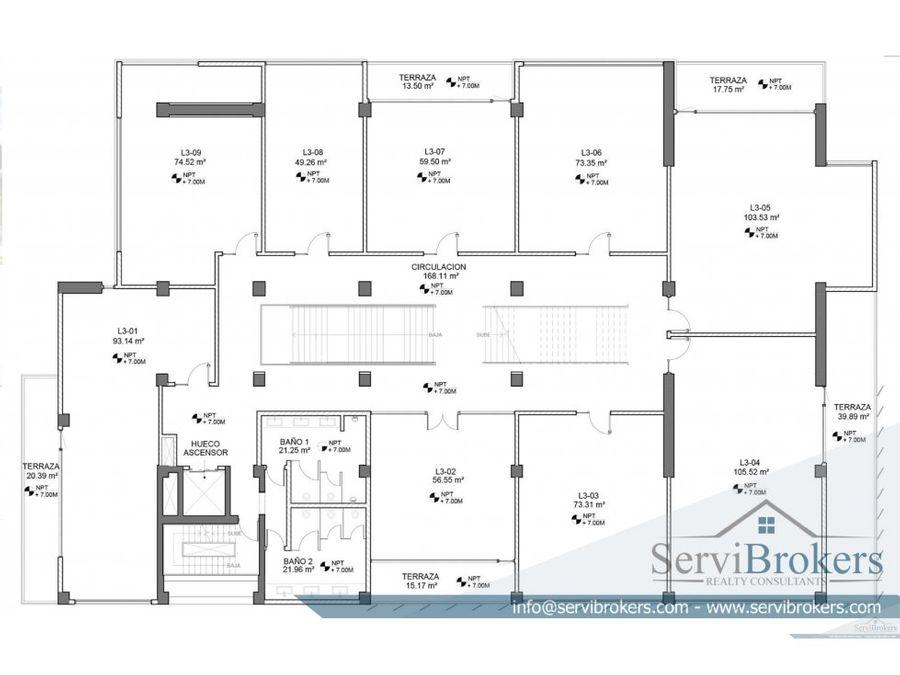 oficina alquiler 600 m2 punta cana village
