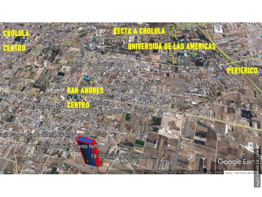 terreno en venta en san adres cholula