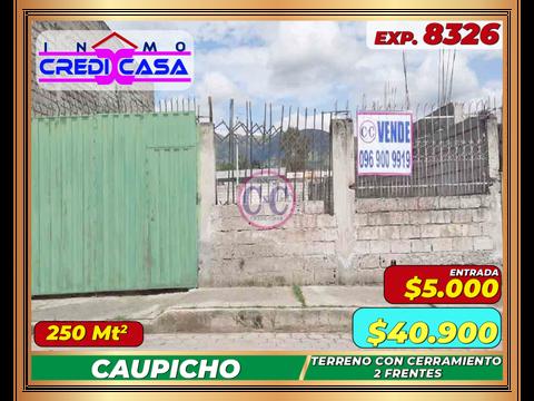 cxc venta terreno plano con 2 frentes caupicho exp 8326