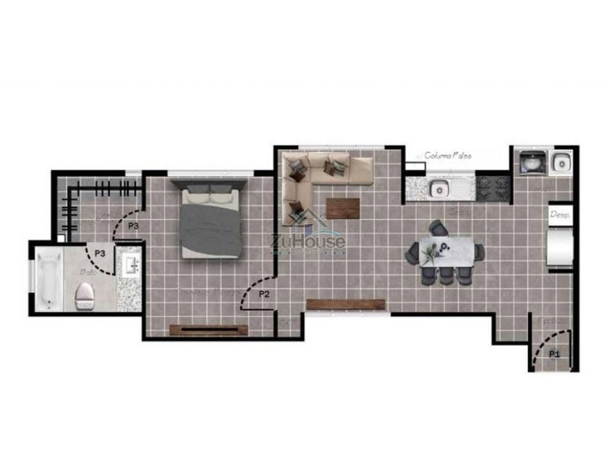 apartaestudio en venta en planos en el dorado santiago wpa15 a