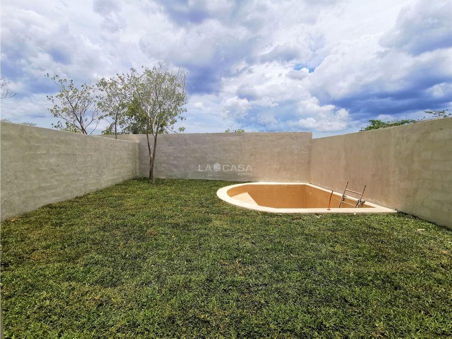 casa de 3 habitaciones con piscina en residencial de conkal