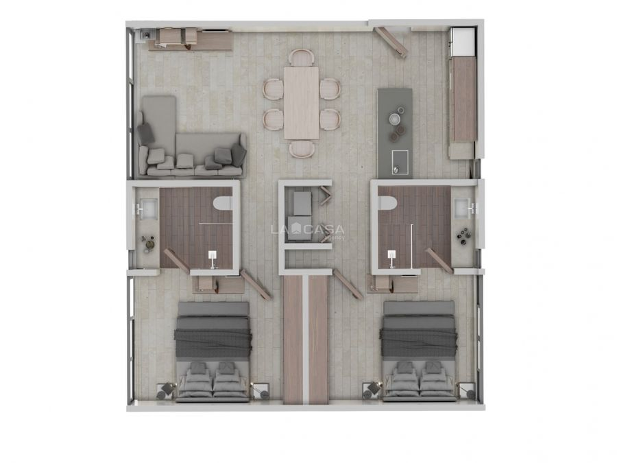 departamento de 2 habitaciones con amenidades en temozon