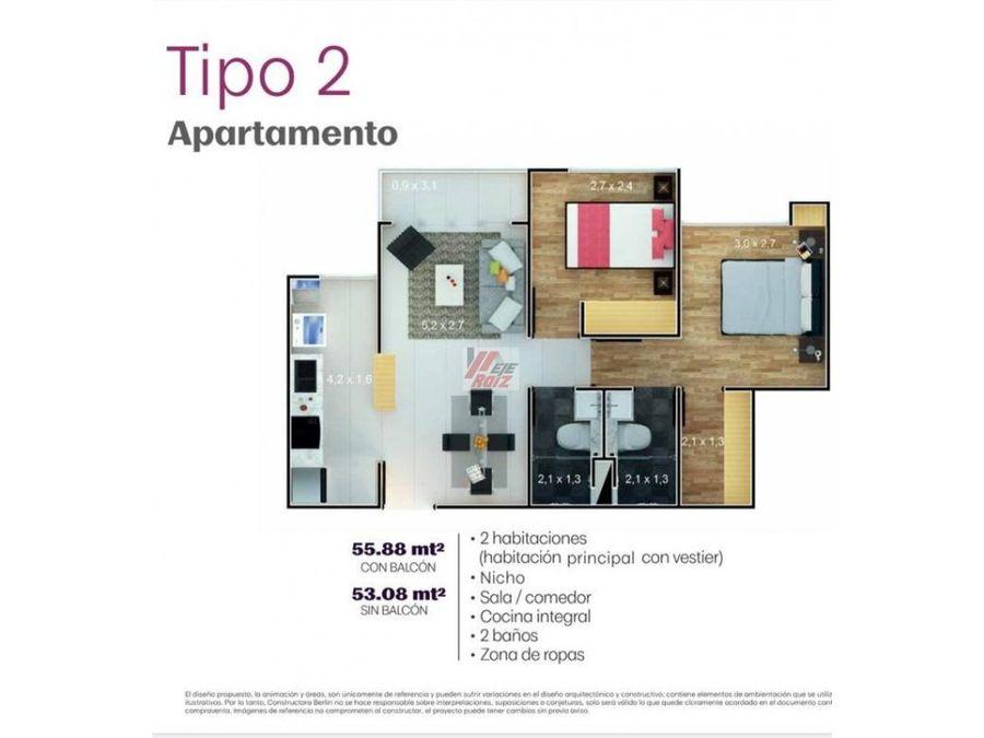venta apartamento sector alta suiza area 5588 mtrs2