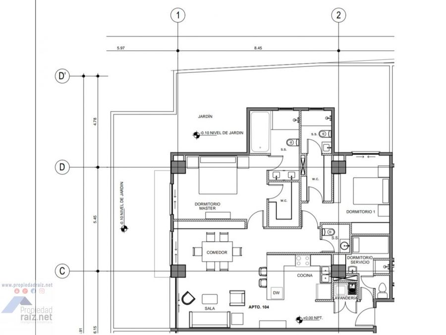 apartamento 1r nivel z15 vh1 edificio leben d