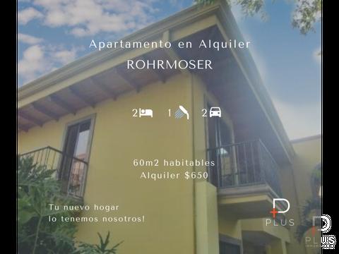 apartamento en alquiler rohrmoser condominio rc120