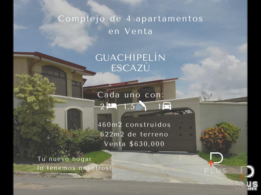 conjunto de 4 apartamentos en venta guachipelin de escazu em77