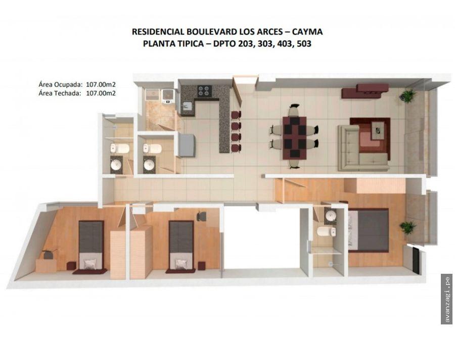 departamento en tercer piso urbanizacion exclusiva de cayma