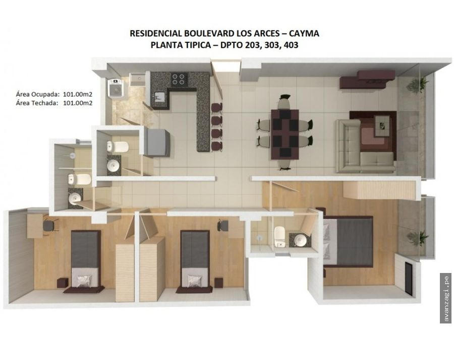 departamento en segundo piso urbanizacion exclusiva de cayma