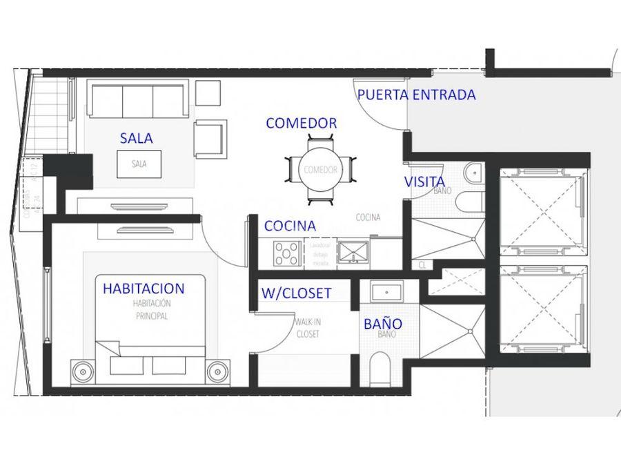 apartamento en venta 1 habitacion en piantini