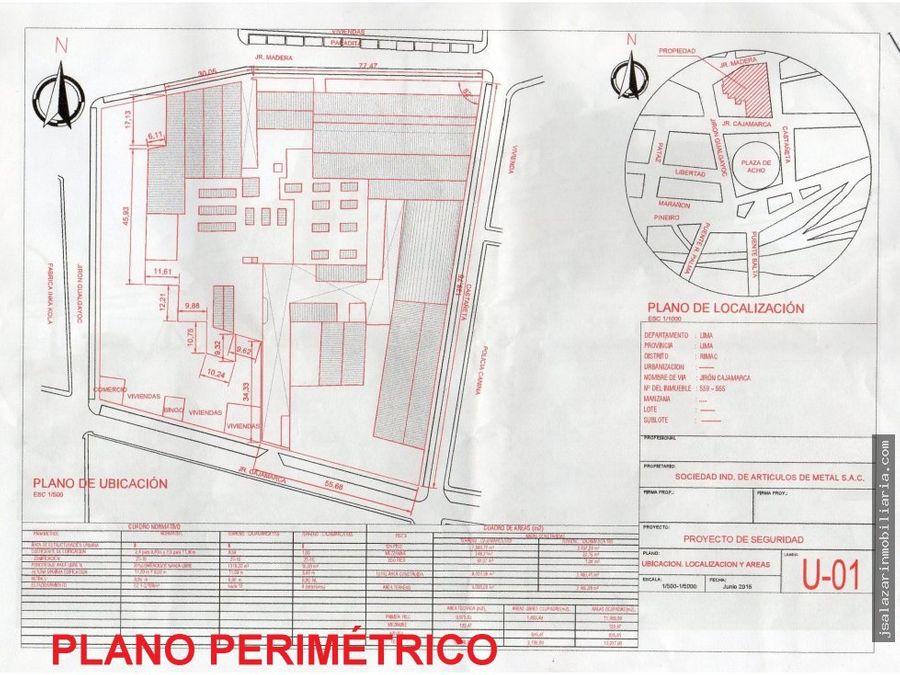 venta de terreno 11470 m2 3 frentes rimac