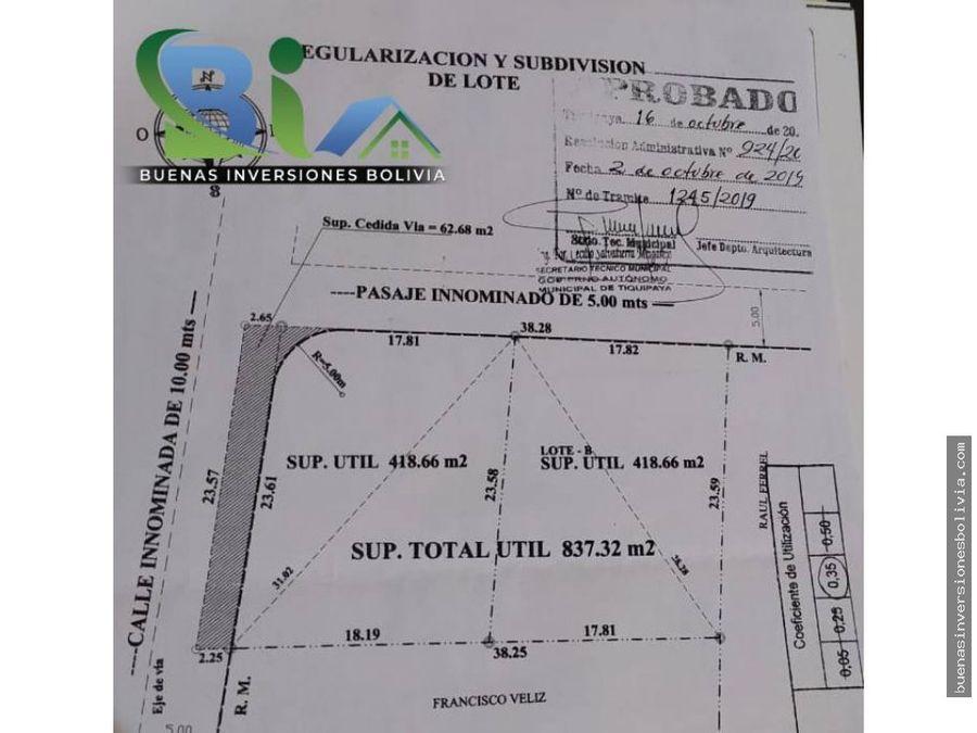 us 54000 lote urbano sup419m2 prox av reducto tiquipaya