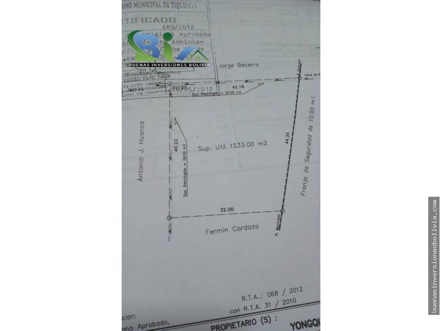 us159000 lote sup 1533m2 zona urbana tiquipaya collpapampa