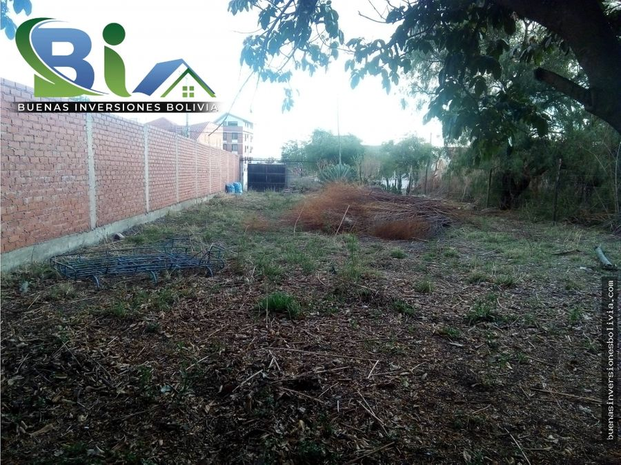 lote urbano sup550m2 listo para construir a pasos plaza tiquipaya