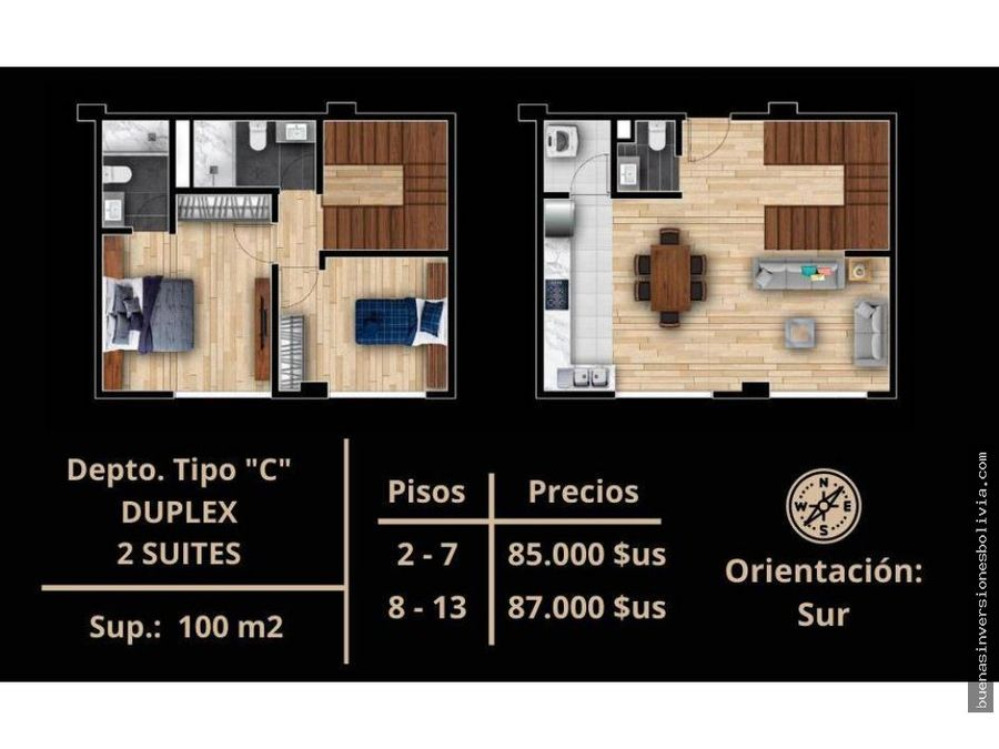 departamentos 1234 duplex de 23 dormitorios preventa zona sarco