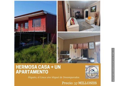 casa apartamento independiente en san miguel higuito desamparados