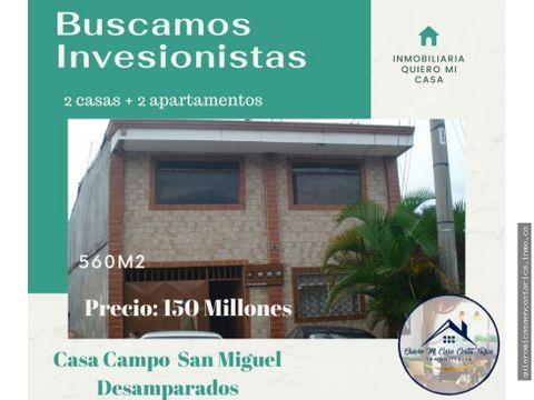 complejo de 2 casas 2 apto casa campo san miguel desamparados