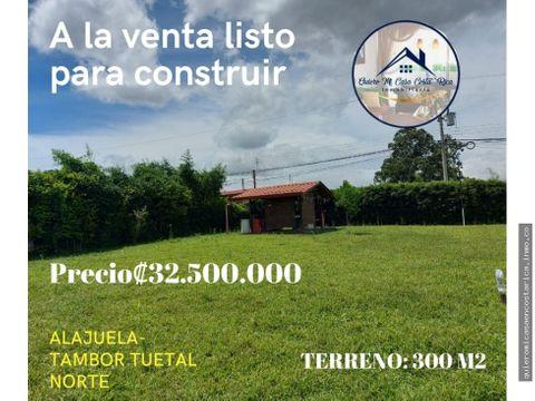 venta de lote listo para construir en alajuela tambor tuetal norte