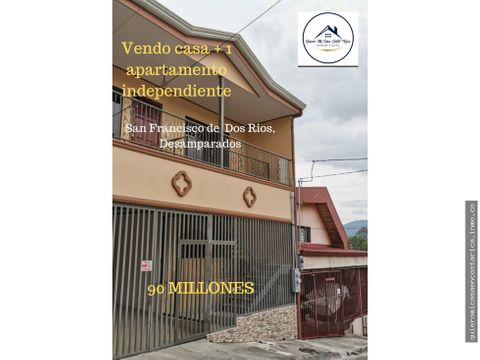 venta de casa 1 apartamento independiente san franciscos de dos rios