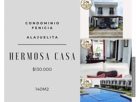 hermosa casa en condominio fenicia alajuelita