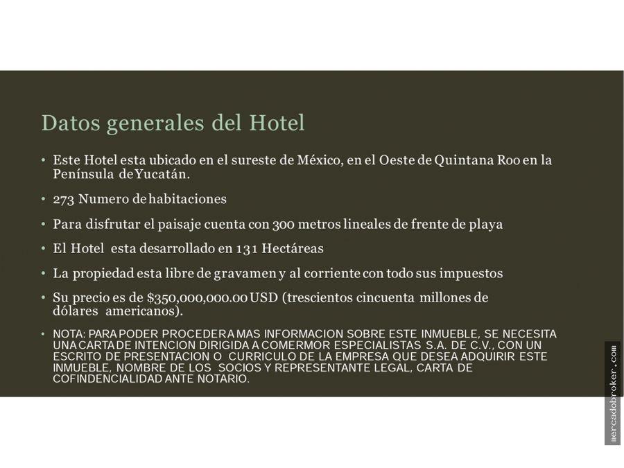 en venta hotel hacienda 3 rios playa del carmen qroo