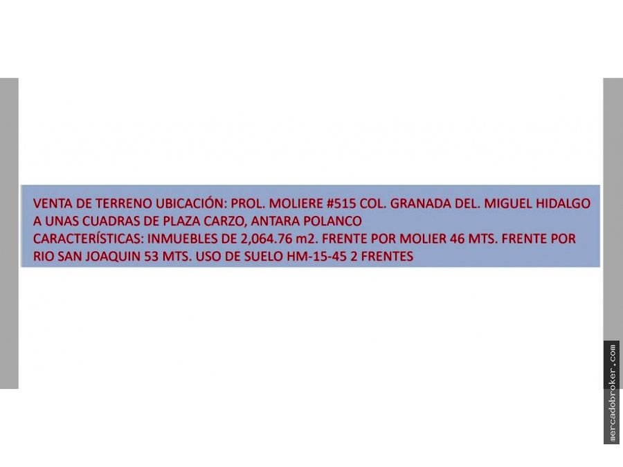 venta de terreno en polanco cdmx
