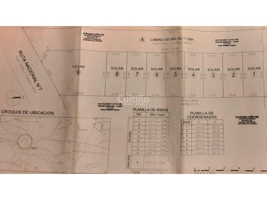 fraccionamiento terrenos 511mt2 en tala canelones