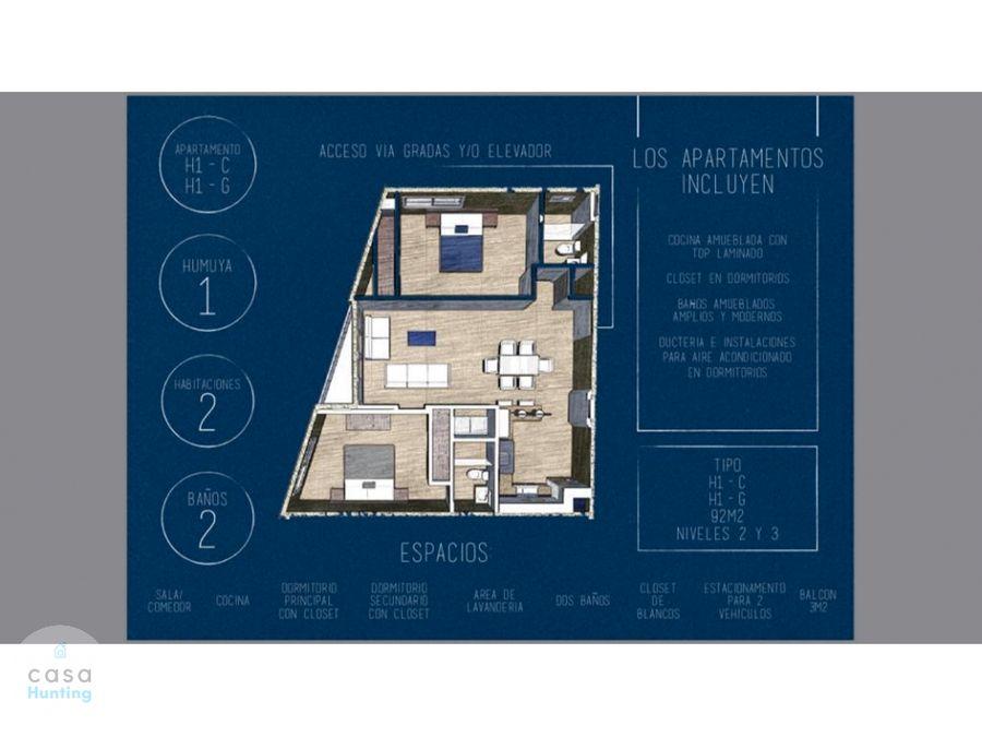 apartamento en venta col humuya circuito cerrado 92 m2