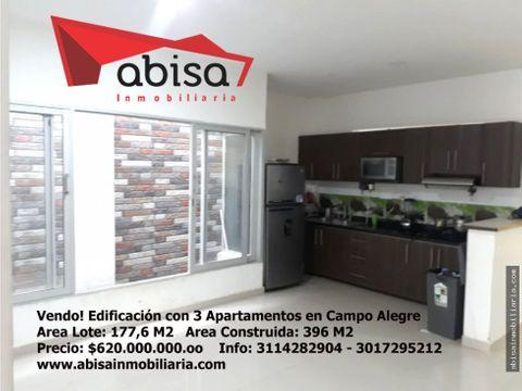 edificacion con 3 apartamentos en campo alegre