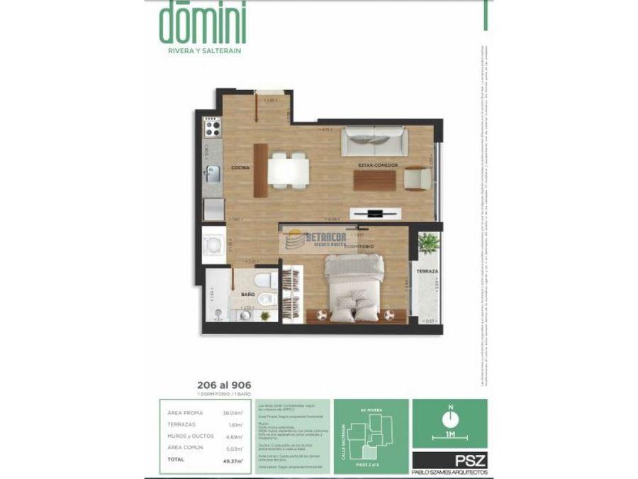 apartamento 1 dormitorio a estrenar en cordon