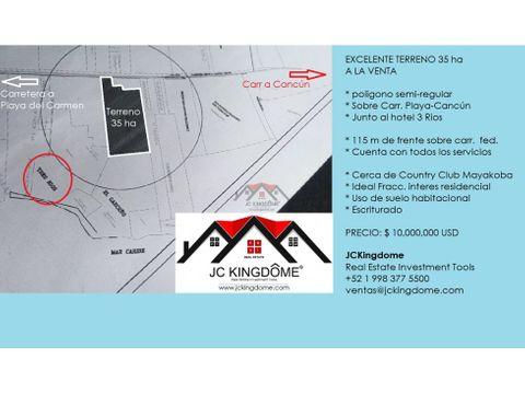 vendo terreno ideal fracc residencial junto a 3 rios playa del carmen